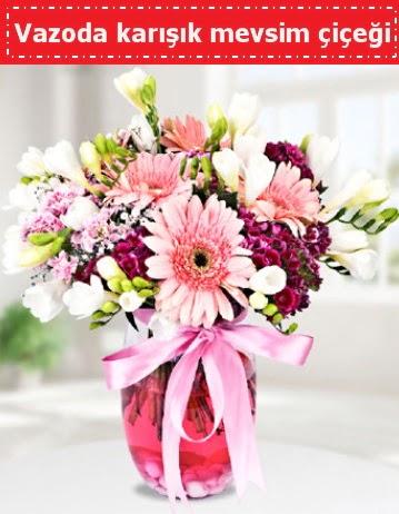 Vazoda karışık mevsim çiçeği  Gümüşhane cicekciler , cicek siparisi