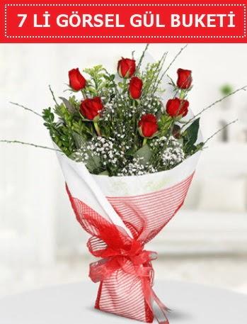 7 adet kırmızı gül buketi Aşk budur  Gümüşhane cicek , cicekci