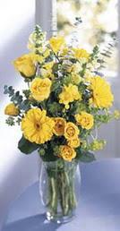 Gümüşhane güvenli kaliteli hızlı çiçek  sari güller ve gerbera cam yada mika vazo