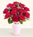 Gümüşhane 14 şubat sevgililer günü çiçek  10 kirmizi gül cam yada mika vazo tanzim