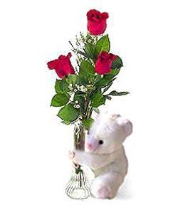 oyuncak ve 3 adet gül  Gümüşhane hediye sevgilime hediye çiçek