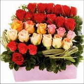 15 adet renkli gül ve cam   Gümüşhane anneler günü çiçek yolla