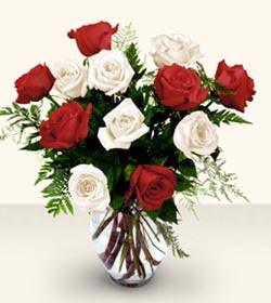Gümüşhane çiçek yolla , çiçek gönder , çiçekçi   6 adet kirmizi 6 adet beyaz gül cam içerisinde