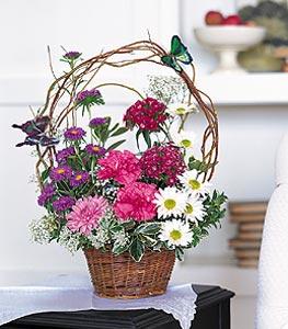 Gümüşhane online çiçekçi , çiçek siparişi  sepet içerisinde karanfil gerbera ve kir çiçekleri