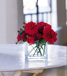 Gümüşhane uluslararası çiçek gönderme  kirmizinin sihri cam içinde görsel sade çiçekler