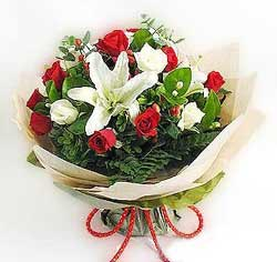 güller ve kazablanklardan görsel bir buket  Gümüşhane çiçek online çiçek siparişi