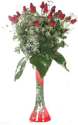 Gümüşhane çiçek yolla , çiçek gönder , çiçekçi   19 ADET GÜL VE FIL CAM AYAGI