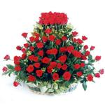 Gümüşhane çiçek , çiçekçi , çiçekçilik  41 adet kirmizi gülden sepet tanzimi
