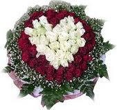 Gümüşhane çiçek satışı  27 adet kirmizi ve beyaz gül sepet içinde