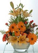 Gümüşhane çiçekçi telefonları  cam yada mika vazo içinde karisik mevsim çiçekleri