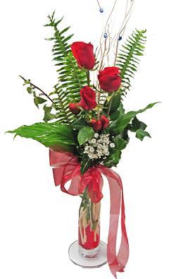 Çiçek gönderin cam vazoda 3 gül çiçekleri  Gümüşhane hediye sevgilime hediye çiçek