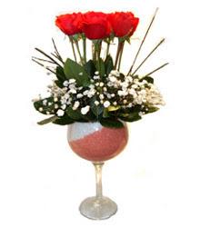 Gümüşhane çiçek servisi , çiçekçi adresleri  cam kadeh içinde 7 adet kirmizi gül çiçek