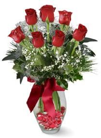 7 adet vazoda gül  Gümüşhane çiçek online çiçek siparişi  kirmizi gül