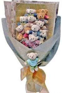 12 adet ayiciktan buket tanzimi  Gümüşhane yurtiçi ve yurtdışı çiçek siparişi
