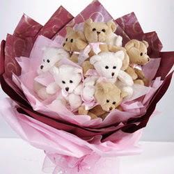 9 adet ayiciktan buket  Gümüşhane çiçek mağazası , çiçekçi adresleri