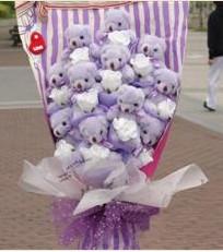 11 adet pelus ayicik buketi  Gümüşhane çiçekçiler
