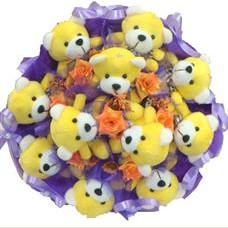11 adet pelus ayicik buketi  Gümüşhane çiçek satışı