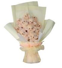 11 adet pelus ayicik buketi  Gümüşhane uluslararası çiçek gönderme