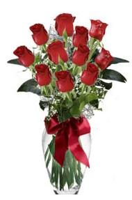 11 adet kirmizi gül vazo mika vazo içinde  Gümüşhane İnternetten çiçek siparişi