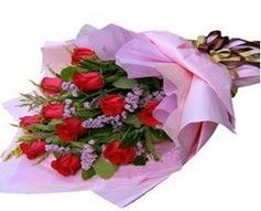 11 adet kirmizi güllerden görsel buket  Gümüşhane çiçekçiler