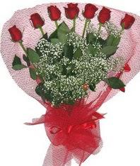 7 adet kipkirmizi gülden görsel buket  Gümüşhane çiçek satışı