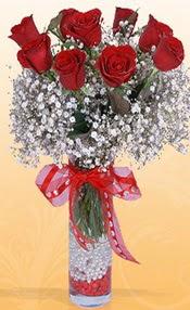 9 adet kirmizi gül cam yada mika vazoda  Gümüşhane çiçek satışı