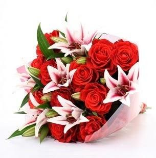 Gümüşhane kaliteli taze ve ucuz çiçekler  3 dal kazablanka ve 11 adet kırmızı gül