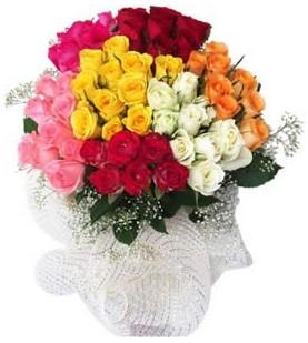 Gümüşhane online çiçek gönderme sipariş  51 adet farklı renklerde gül buketi