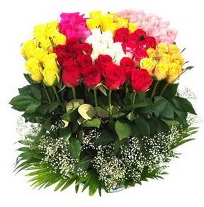 Gümüşhane çiçek satışı  51 adet renkli güllerden aranjman tanzimi