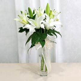 Gümüşhane çiçek gönderme sitemiz güvenlidir  2 dal kazablanka ile yapılmış vazo çiçeği