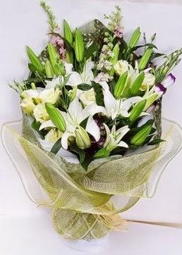 Gümüşhane çiçekçi telefonları  3 adet kazablankalardan görsel buket çiçeği