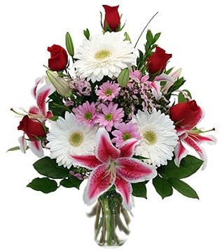 Gümüşhane çiçek satışı  1 dal kazablanka 5 gül ve kırçiçeği vazosu