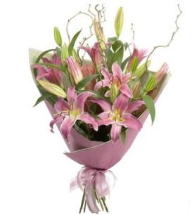 Gümüşhane internetten çiçek satışı  3 dal cazablanca buket çiçeği