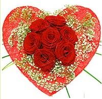 Mika kalp içerisinde 7 adet kırmızı gül  Gümüşhane anneler günü çiçek yolla