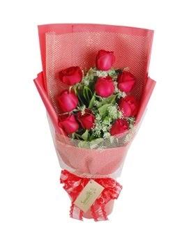 9 adet kırmızı gülden görsel buket  Gümüşhane uluslararası çiçek gönderme