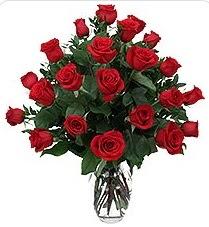 Gümüşhane hediye sevgilime hediye çiçek  24 adet kırmızı gülden vazo tanzimi