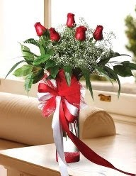 Camda 5 kırmızı gül tanzimi  Gümüşhane online çiçek gönderme sipariş