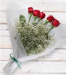 5 kırmızı gülden sade buket  Gümüşhane internetten çiçek siparişi