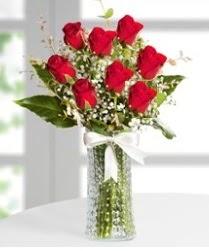 7 Adet vazoda kırmızı gül sevgiliye özel  Gümüşhane hediye sevgilime hediye çiçek