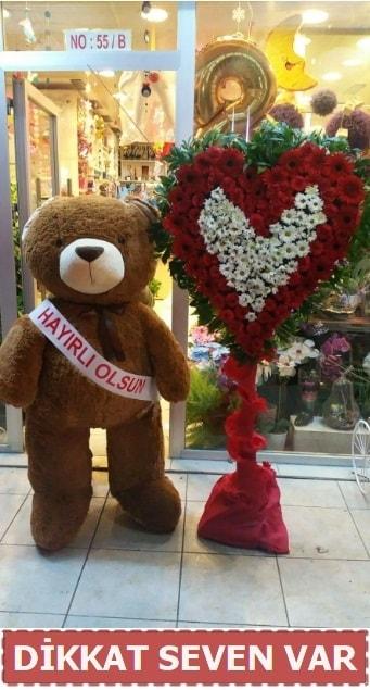 1.5 Metre peluş ayı ve Kalp  Gümüşhane çiçekçiler