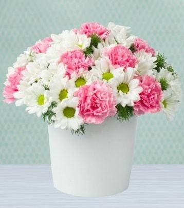 Seramik vazoda papatya ve kır çiçekleri  Gümüşhane hediye sevgilime hediye çiçek