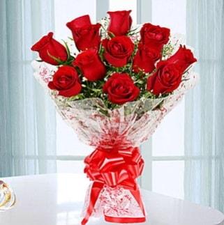 11 adet kırmızı gülden görsel şık buket  Gümüşhane uluslararası çiçek gönderme