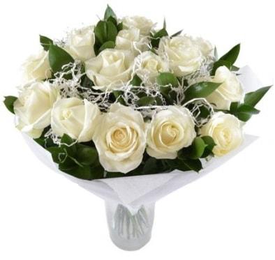 15 beyaz gül buketi sade aşk  Gümüşhane cicek , cicekci