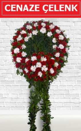 Kırmızı Beyaz Çelenk Cenaze çiçeği  Gümüşhane internetten çiçek satışı