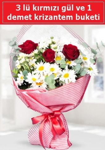3 adet kırmızı gül ve krizantem buketi  Gümüşhane çiçekçiler