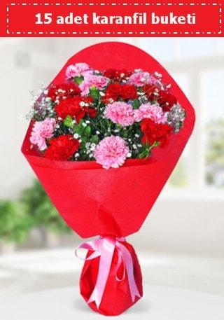 15 adet karanfilden hazırlanmış buket  Gümüşhane online çiçekçi , çiçek siparişi