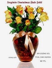 Gümüşhane çiçek online çiçek siparişi  mika yada Cam vazoda 12 adet sari gül